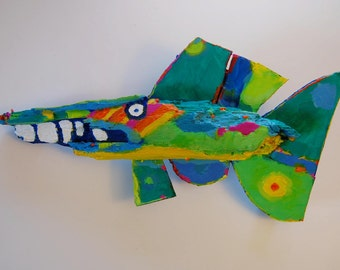 Fish Art created out of a piece of driftwood found in W. New York
