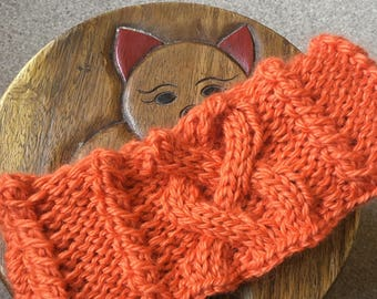 Knitting Pattern - cable neck warmer / ear warmer. Circular needle