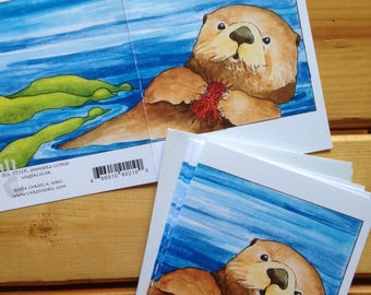6 Sea Otter blank cards
