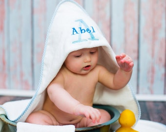 Baby bath robe hooded baby towel, personalized baby washcloth set, nursery decor, baby shower gift, new baby boy gift, personalized baby set