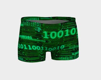 Binary code and circuits Shorts shorties Handmade high quality Computer Science programmer yoga artist original art printed chic geek wear