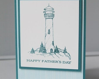Lighthouse in Blue Happy Father's Day Card, Thinking of You Dad Greeting Card, Hand Made Card for Grandfather, Masculine Card