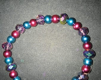 Magenta and turquoise stretchy bead bracelet