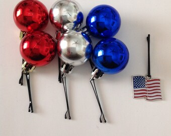 Beard Art Baubles Beard Ornaments Fourth of July Patriotic Gift Set 7 Baubles Flag and Red White and Blue Ball Baubles for the Beard