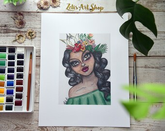 Tropical Princess-Watercolors, Pen, Marker, Mixed media, flower crown, Plumeria, tropical, whimsical