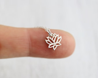 Lotus Necklace - Sterling Silver Tiny Lotus Necklace - Tiny Lotus Pendant - Lotus Jewelry - Yoga Necklace - Flower Necklace -Dainty Necklace
