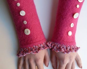 Hot Pink Felted Wool Fingerless Gloves with Vintage Buttons