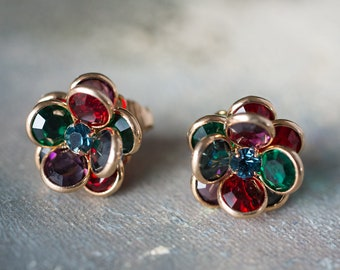 Vintage Flower Clip Jewel Tone Crystal Earrings 18k Yellow Gold Electroplated E596