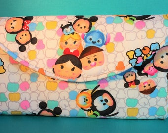 Disney Tsum Tsum Mickey and friends necessary clutch wallet features 10 card slots and zipper pockets NCW EDC
