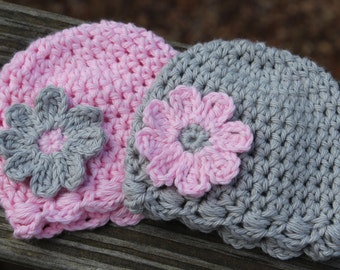 Baby hat, Twin baby hats, twin photo prop, preemie hat, baby girl twin hat, crochet baby twin set, Newborn photo prop, Gender reveal