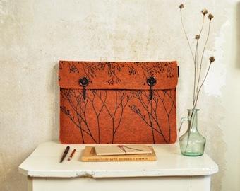 "Macbook case 15"" - orange laptop sleeve in Felt with Wild Plant Pattern - original screenprinted cover 15 in"
