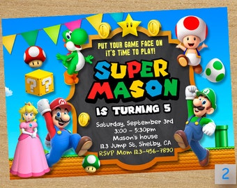 Super Mario Printable, Super Mario Party, Mario Chalkboard, Super Mario Invitations, Super Mario Birthday Invitation, Mario Invitation