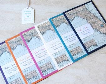 Florida Map Wedding Invitation Booklet - Vintage Map Destination Travel Theme - SAMPLE