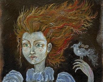 Ingwer-Mädchen mit einem Vogel original Ölgemälde