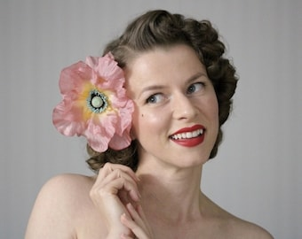 """Large Hair Flower, Pink Fascinator, Dusty Pink Hair Clip, Mauve Hair Accessory, 1950s Floral Headpiece Pinup Hair - """"Pick Me Up in Paradise"""""""