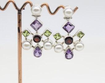 Real Freshwater Pearl Natural Amethyst  Peridot Garnet Earrings In Sterling Silver 221115
