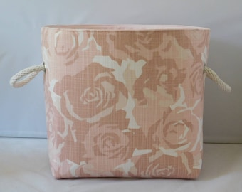Soft Pink Rose Print Fabric Basket With Handles