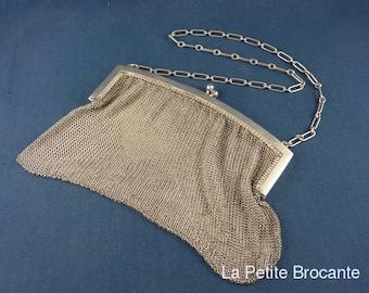 Art Deco silver mesh ball bag