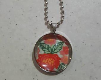 Floral Silver Pendant Necklace