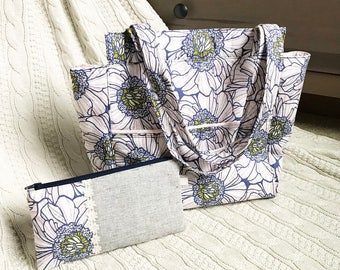 Peony Bloom Purse blush pink and navy floral purse and zipper pouch