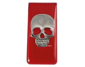 Skull Head Metal Money Clip Inlaid in Hand Painted Enamel Red Opaque Glossy Finish Personalized and Color Options