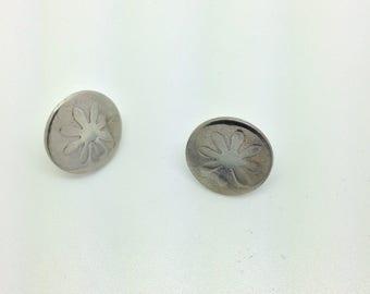 Sterling Silver Flower Design Ear Studs