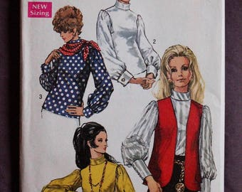 Misses 60s Bishop Sleeve Blouse Wide French Cuffs Roll Collar Scarf and Vest Vintage 1960s Simplicity 8351 Sewing Pattern Size 12 Bust 34