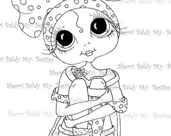 INSTANT DOWMLOAD digitale Digi Stamps Big Eye Big hoofd poppen Digi Besties BowZIE 3 door Sherri Baldy