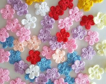 50 pcs Small Crochet Flowers Applique Embellishment in multi-color size 2 cm.