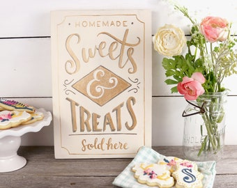 Bakery Sweets and Treats Wood Sign - Gold Bakery Sign - Hand Painted Kitchen Decor - Bake Shop - Cupcake Sign - Homemade Baked Goods