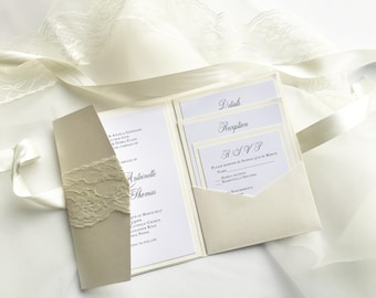 """Lace Pocket fold Wedding invitations """"The Marie Suite"""""""