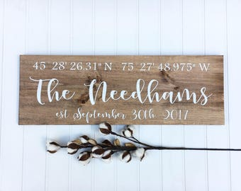 Coordinates sign, Personalized wooden sign, Longitude latitude sign, Family name sign, Gift for couple