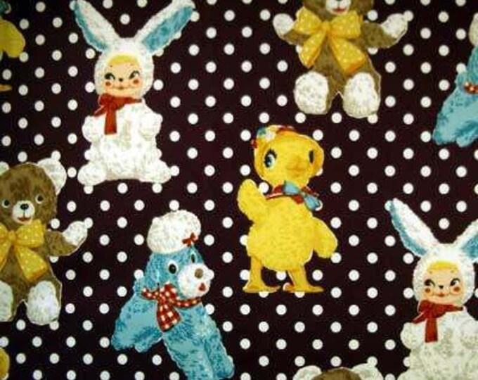 STUFFED ANIMALS Plum Purple Japan Cotton Quilt Fabric - Japanese Import Yellow Chick Bunny Teddy Polka Dot White Funky Aqua Blue Dog Bear