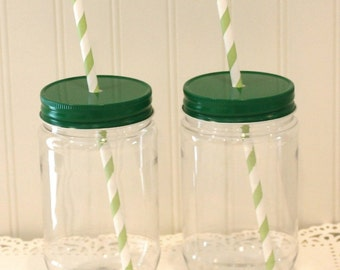 Plastic Mason Jar, 10 Plastic Mason Jar Cup with Metal Straw Hole Lid, Plastic Cup, Rustic Wedding Favor, Baby Shower Favor, Disposable Cups