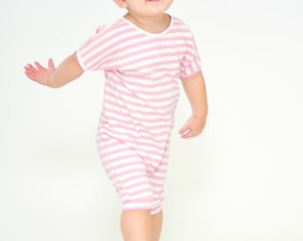baby romper, toddler romper, baby girl romper,  striped romper, PINK and WHITE