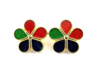 2 Vintage metal enamel flowers buttons 20mm
