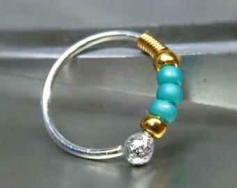 Silver Nose hoop with blue Beads - Nose ring hoop - Helix Hoop Earring - Cartilage piercing