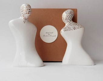 Ceramic Salt and Pepper Set, White Porcelain with Gold Paint, Handmade Ceramics and Pottery