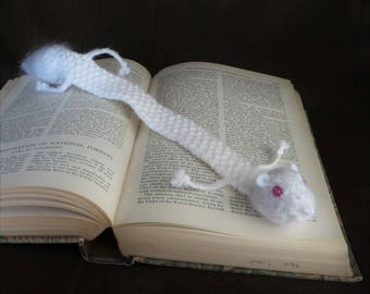 Roadkill Albino Squirrel Bookmark - White Squirrel Pink Eyes - Vegan Roadkill - READY TO SHIP