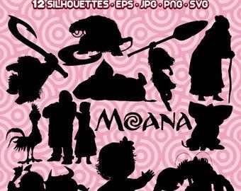Moana Silhouette, Moana Clipart,  Princess Moana, Disney Moana, Moana Cut Files,  Instant Download 95