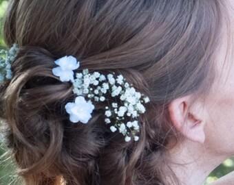 Small White Flower Hair Pins - Set of Two - Wedding, Bridal, Bridesmaids, Flower Girl