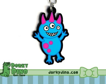 Cute Pink and Blue Monster Keychain