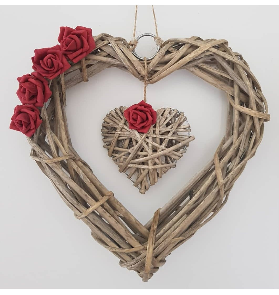 Image of Wicker Heart Wreath with Roses, Birthday, Valentines Day, Girlfriend Gift, Love