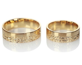 14k Gold his and hers wedding bands. Wedding bands gold. Matching wedding bands. Wedding rings. Couple rings. Wedding rings set.