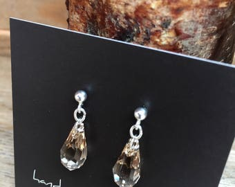 Swarovski Smokey Crystal Raindrop Earrings
