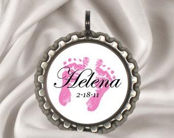 Personalized Name Keepsake Bottlecap Pendant, Baby Name Necklace