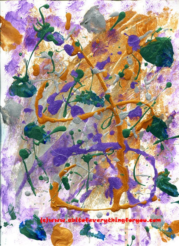 "metallic paint drips abstract original art painting, paint splatter painting, modern contemporary artwork, gold silver purple green 9"" x 12"""