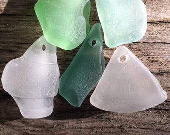 SUPPLIES...5 genuine sea glass pieces, drilled hand made beads, jewelry supplies,weddings,gift ideas
