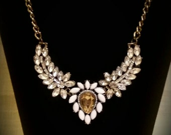 After Life Accessories Repurposed Clear Rhinestones Gold Statement  Necklace