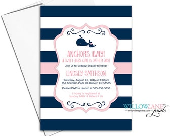 whale baby shower invites for girls, nautical baby shower invitations unique, navy and pink baby shower, printable or printed - WLP00797